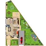 مخطط الطابق الارضي للفيلا رقم 1