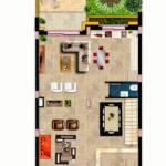 مخطط الطابق الارضي للفيلا رقم 2