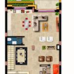 مخطط الطابق الارضي للفيلا رقم 3