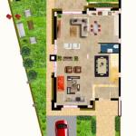 مخطط الطابق الارضي للفيلا رقم 4