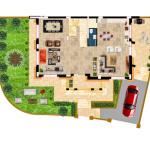مخطط الطابق الارضي للفيلا رقم 9