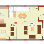 مخطط الطابق الارضي لفيلا 13