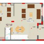 مخطط الطابق الارضي لفيلا 12