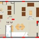 مخطط الطابق الارضي لفيلا 14